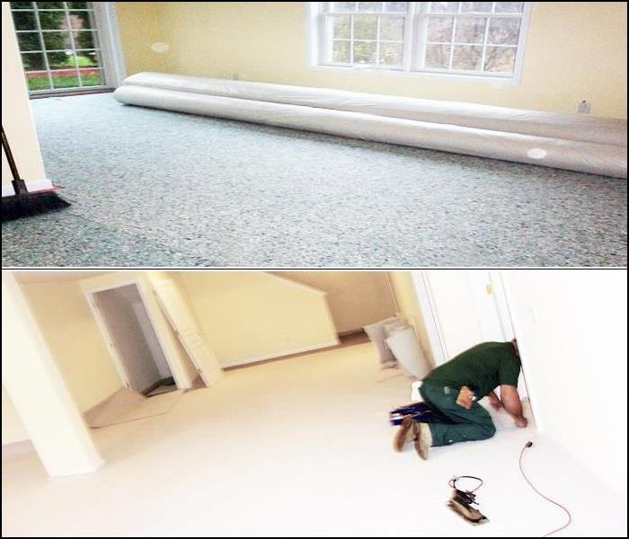 Installation of New Carpeting After Basement Water Damage, in Totowa, NJ